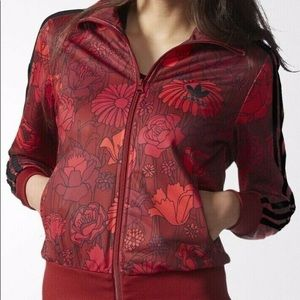 Adidas red floral track jacket